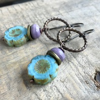 Blue & Purple Flower Earrings. Czech Glass Earrings. Sky Blue Floral Earrings