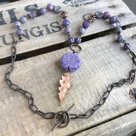 Rustic Copper Leaf Necklace. Purple Beaded Necklace. Unique Mixed Media Necklace