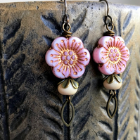 Pink & Cream Flower Earrings. Czech Glass Earrings. Pretty Floral Jewellery