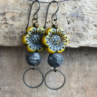 Yellow & Black Czech Glass Earrings. Anemone Flower Earrings. Rustic Jewellery