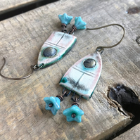 Artisan Ceramic & Czech Glass Earrings. Unique Glazed Ceramic Arch Earrings