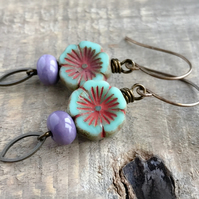 Mint & Lavender Floral Earrings. Green & Purple Czech Glass Flower Earrings