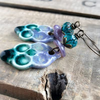 Unique Artisan Ceramic Statement Earrings. Large Boho Purple & Green Earrings