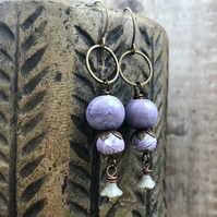 Bohemian Style Purple & Grey Earrings. Romantic Earrings. Mixed Media Earrings