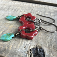 Rustic Dark Red Daisy Flower Earrings. One of a Kind Artisan Ceramic Earrings