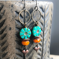Long Bohemian Style Turquoise & Orange Earrings. Colourful Czech Glass Earrings