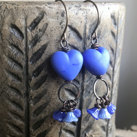 Blue Heart Earrings. Artisan Lampwork Glass Earrings. Valentines Heart Jewellery