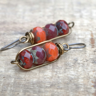 Autumn Colour Earrings. Czech Glass Earrings. Minimalist Wire Work Earrings