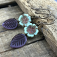 Purple & Mint Green Earrings. Nature Inspired Czech Glass Leaf & Flower Earrings