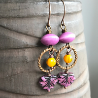 Bohemian Style Maple Leaf Earrings. Pink & Yellow Earrings. Czech Glass Earrings