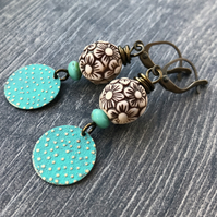 Turquoise Verdigris Patina Earrings. Lightweight Brass Earrings. Floral Earrings