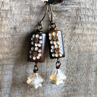 Brown & Cream Floral Earrings. Czech Glass Flower Earrings. Nature Jewellery