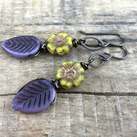 Purple Leaf Earrings. Czech Glass Earrings. Flower Earrings. Nature Lover Gift