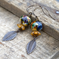 Artisan Lampwork Earrings. Brass Leaf Earrings. Unique Autumn Nature Jewelry