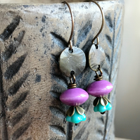 Orchid Pink & Turquoise Earrings. Lightweight Ceramic Earrings. Simple Earrings