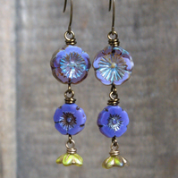 Purple & Green Czech Glass Flower Earrings. Lavender Cascading Floral Earrings