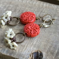 Red & Cream Earrings. Czech Glass Flower Cluster Earrings. Carved Resin Earrings