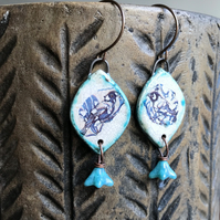 Bohemian Blue Artisan Earrings. Bird Earrings. Rustic Decal Ceramic Earrings