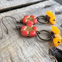 Red & Yellow Flower Cluster Earrings. Gypsy Bohemian Festival Jewellery