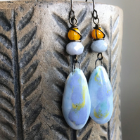Pastel Artisan Ceramic Earrings. Long Bohemian Earrings. Statement Earrings