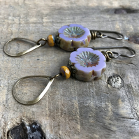 Lavender Czech Glass Flower Earrings. Purple Pansy Earrings. Pastel Earrings