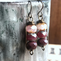 Pink & Burgundy Stacked Czech Bead Earrings. Petite Simple Wire Work Earrings