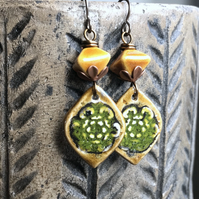 Rustic Ochre Artisan Ceramic Earrings.  Bohemian Mustard Yellow Earrings