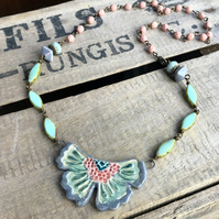 Artisan Ceramic Butterfly Necklace. Pastel Statement Necklace. Rustic Pendant
