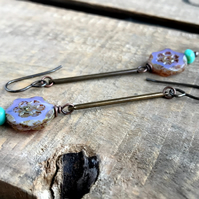 Purple & Aqua Czech Glass Daisy Earrings. Lightweight Antiqued Brass Earrings