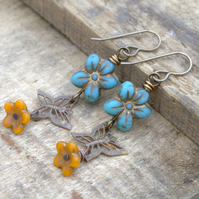 Brass Filigree Butterfly Earrings. Turquoise & Yellow Czech Glass Earrings