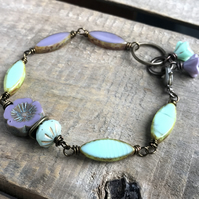Czech Glass Beaded Bracelet. Simple Lavender Purple & Mint Green Bracelet