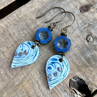Watercolour Artisan Ceramic Earrings. Porcelain Earrings. Blue Flower Earrings