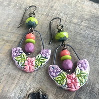 Multi Colour Artisan Ceramic Earrings. Bohemian Style Earrings. One Of A Kind