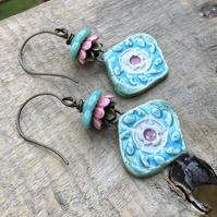 Artisan Ceramic Earrings. Turquoise & Pink Earrings. Colourful Bohemian Earrings
