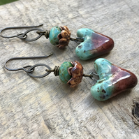 Artisan Ceramic Heart Earrings. Rustic Turquoise & Brown Earrings. Boho Earrings