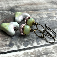 Pink & Green Heart Earrings. Unique Artisan Ceramic Earrings. Pastel Earrings