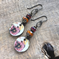 Artisan Ceramic Floral Earrings. Unique Orange & Pink Porcelain Charm Earrings
