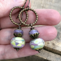 Artisan Lampwork Glass Bead Earrings. Watercolour Earrings. Pastel Earrings