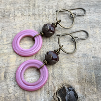 Rose Pink Artisan Lampwork Earrings. Glass Hoop Earrings. Gypsy Style Earrings