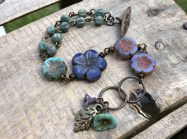 Rustic Czech Glass Flower Bracelet. Purple & Green Floral Bracelet.