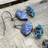 Artisan Ceramic Fan Earrings. Multi Colour Earrings. Czech Glass Flower Earrings