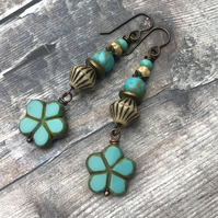 Turquoise Czech Glass Flower Earrings. Stacked Earrings. Bohemian Flower Earring