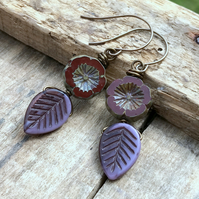 Purple Glass Leaf Earrings. Burgundy Flower Earrings. Rustic Czech Glass Earring