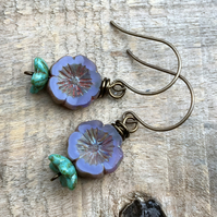 Purple & Turquoise Earrings. Czech Glass Flower Earrings. Pansy Flower Earrings