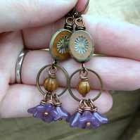 Autumnal Czech Glass Earrings. Rustic Orange & Purple Glass Bead Earrings