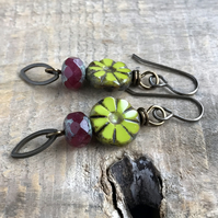Chartreuse Green & Pink Czech Glass Earrings. Colourful Bohemian Style Earrings