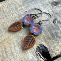 Orange Glass Leaf Earrings. Purple Czech Glass Flower Earrings. Nature Inspired