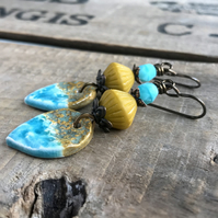 Rustic Turquoise & Yellow Earrings. Artisan Ceramic Earrings. Stacked Earrings