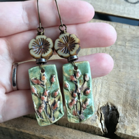 Artisan Ceramic Floral Earrings. Rustic Flower Earring. Nature Inspired Earrings