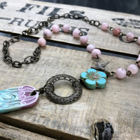 Artisan Ceramic Birdhouse Necklace. Pink & Turquoise Beaded Necklace